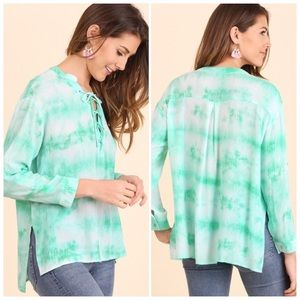 Tie Dye Lace Up Top White Mint Roll Up SleeveS/M/L